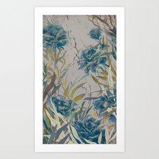 vintage asian floral Art Print