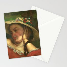 """Gustave Courbet """"Young Ladies on the bank of the Seine – Woman with Flowers on Her Hat """" Stationery Cards"""