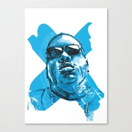 Digital Drawing 33 - Notorious B.I.G. in Blue Canvas Print