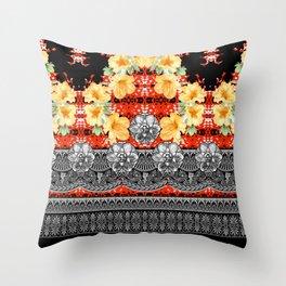 Gold Black Red White Throw Pillow