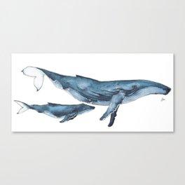Whale & whale calf Canvas Print