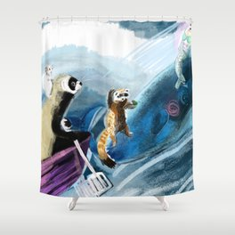 Ferret on the boat (c) 2017 Shower Curtain