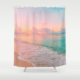 Beautiful: Aqua, Turquoise, Pink, Sunset Relaxing, Peaceful, Coastal Seashore Shower Curtain