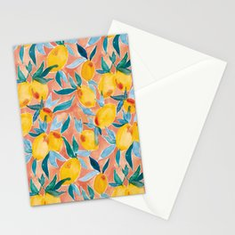 Lucky Lemons Watercolor Fruit Pattern in Peach and Yellow Stationery Cards
