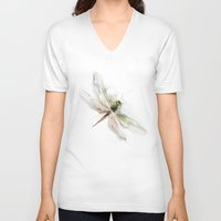 dragonfly V-neck T-shirts featuring dragonfly by tatiana-teni