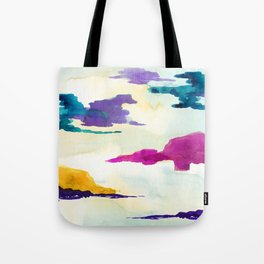 Colourful Loch Abstract Watercolor Painting Tote Bag