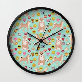 shiba inu emoji dog breed pattern Wall Clock