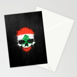 Flag of Lebanon on a Chaotic Splatter Skull Stationery Cards