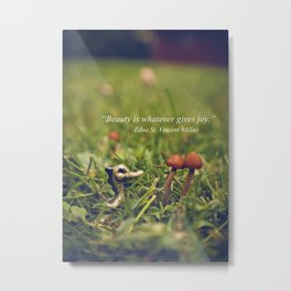 A Dragon, Two Mushrooms, and Edna St. Vincent Millay Metal Print