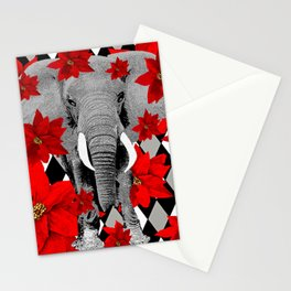POINSETTIAS ELEPHANTS AND HARLEQUINS OH MY Stationery Cards