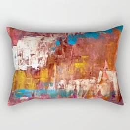 Desert Sun [5]: A bright, bold, colorful abstract piece in warm gold, red, yellow, purple and blue Rectangular Pillow