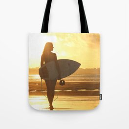 Surfer on the Beach (Woman) Tote Bag