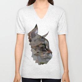 Geometric Cat Digitally Created Unisex V-Neck