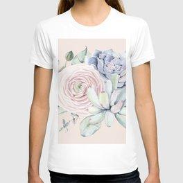 Pretty Pink Succulents Garden T-shirt