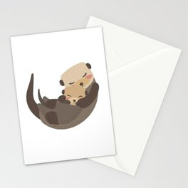 Otter Mother and Child Stationery Cards