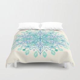 Peppermint Snowflake on Cream Duvet Cover