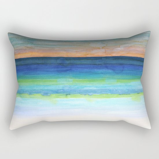 White Beach at Sunset Rectangular Pillow
