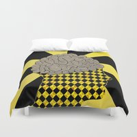 brain Duvet Covers featuring Brain by Art By Carob