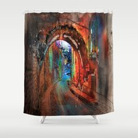 german Shower Curtains featuring A German Lane by Robin Curtiss