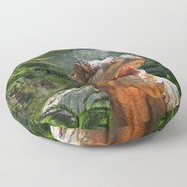 T Rex in Prehistoric Landscape Floor Pillow