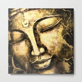 Gold Buddha Face Metal Print