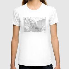 Vintage Mexico Railroad Map (1881) BW T-shirt