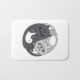 Yin & Yang cats - black & white Bath Mat