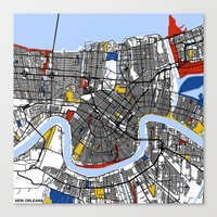 new orleans Canvas Prints featuring New Orleans by Mondrian Maps
