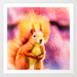 squirrel digital oil paint dopstd Art Print