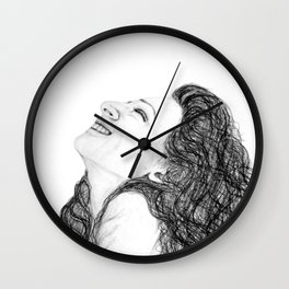 Tell Me Something Good in B/W - Expressions of Happiness Series - Black and White Original Drawing Wall Clock