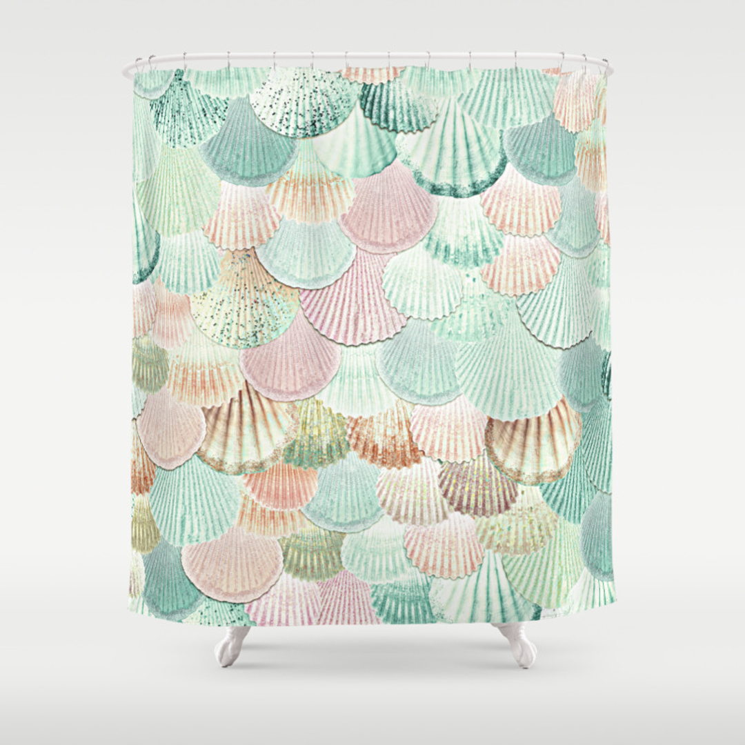 Clam Shower Curtains Society - Mint green shower curtain