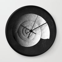 shell Wall Clocks featuring Shell by Studio Art Prints