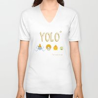 yolo V-neck T-shirts featuring YOLO by Kathryn Hudson Illustrations