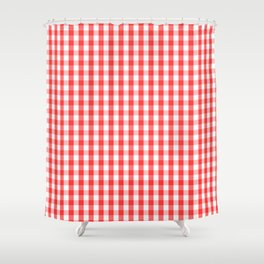 Large Donated Kidney Pink and White Gingham Check Shower Curtain