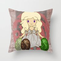 mother of dragons Throw Pillows featuring Mother of Dragons by Cosmic Lab Creations