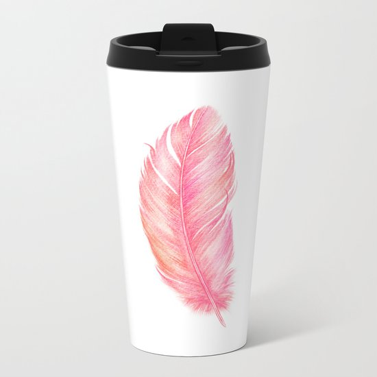 Flamingo Feather | Tropical Bird Metal Travel Mug
