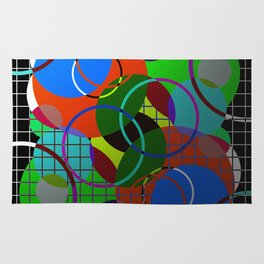 Caged Geometry - Abstract, metallic, geometric, rainbow coloured circles Rug
