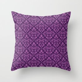 Scroll Damask Pattern Light on Dark Plum Throw Pillow