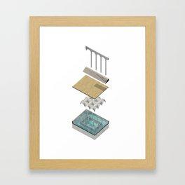 Bathhouse Axonometric Framed Art Print