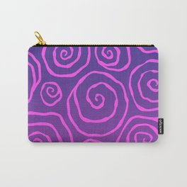 Pink And Purple Funky Spirals Carry-All Pouch