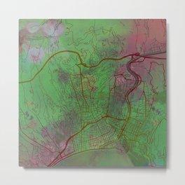 Nice France Street Map Green Planet Metal Print