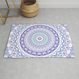 Pastel Purple and Green Mandala Rug