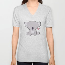 Kawaii Cute Koala Bear With Heart Unisex V-Neck