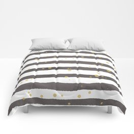 Modern gray yellow white watercolor splatters stripes Comforters