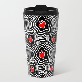 'I Love You Umlaut' Valentine's Pattern - Red, White and Black Block Print Travel Mug