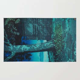 Kawase Hasui Vintage Japanese Woodblock Print Moonlight Shadows Under A Tall Tree Wooden Shrine Rug