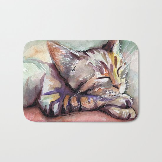 Sleeping Kitten Watercolor Cat Whimsical Cats Bath Mat