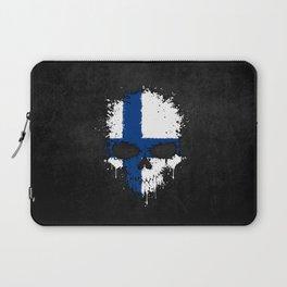 Flag of Finland on a Chaotic Splatter Skull Laptop Sleeve