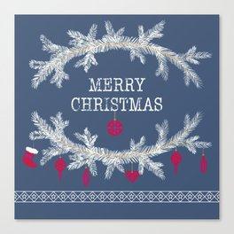 Merry christmas and happy new year greeting card wreath background Canvas Print