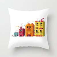 buildings Throw Pillows featuring Buildings by Luis Pinto